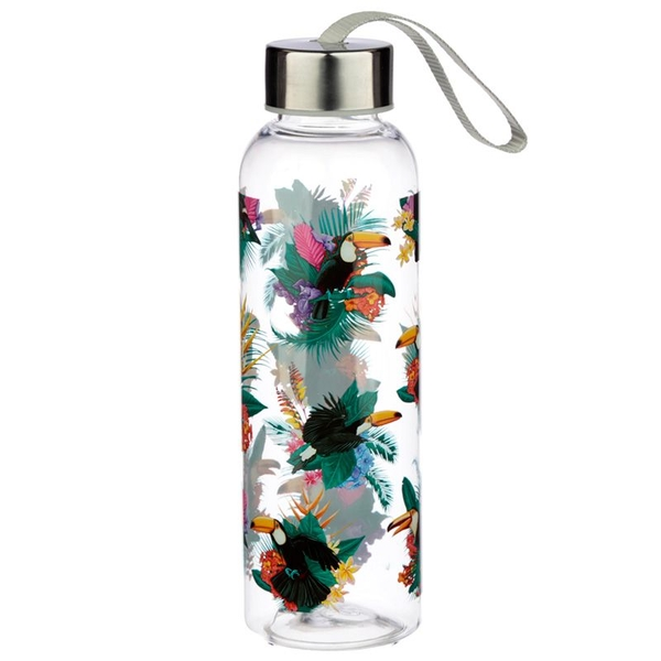 Toucan Party 500ml Water Bottle with Metallic Lid