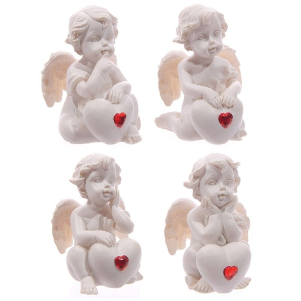 Seated Love Cherub Red Heart Gem (Pack Of 4) Ornament