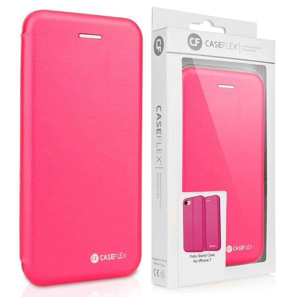 Caseflex iPhone 7 PU Leather Stand Wallet with Felt Lining/ID Slots - Pink (Retail Box)