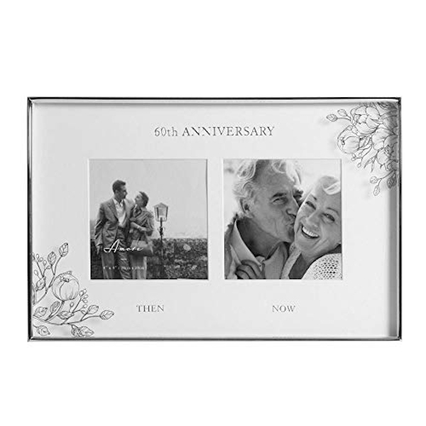 """4"""" x 4"""" - AMORE BY JULIANA? Floral Double Frame - 60 Years"""