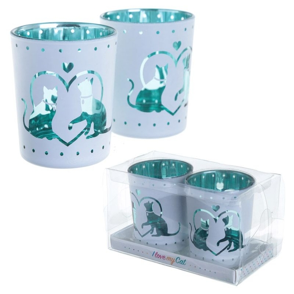 Cat Design Glass Set of 2 Candle Holder - Image 1