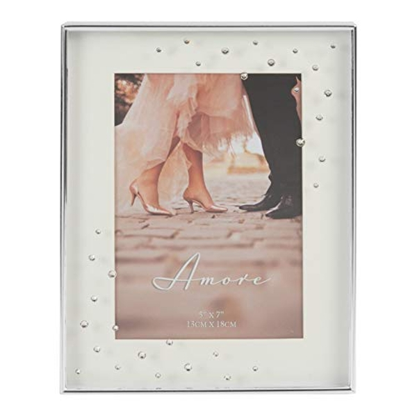 "5"" x 7""- AMORE BY JULIANA? Silver Plated Frame with Crystals"