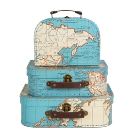 Sass & Belle Vintage Map Suitcases (Set of 3)