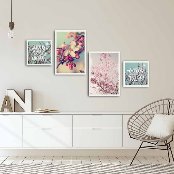 4PBCT-05 Multicolor Decorative Framed MDF Painting (4 Pieces)