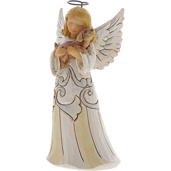 Faithful Friend Woodland Angel with Dog Figurine