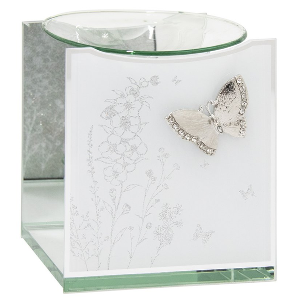 Mirror White Glass Butterfly Wax/oil Warmer by Lesser & Pavey