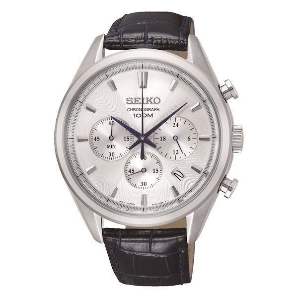 Mens Chronograph Quartz Stainless Steel Watch with Grey Dial & Leather Belt
