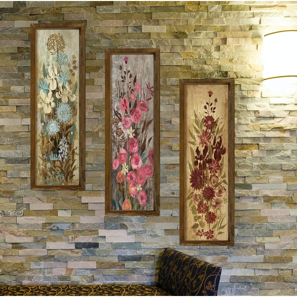 KZM389 Multicolor Decorative Framed MDF Painting (3 Pieces)
