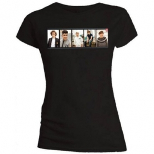 One Direction Photo Split Skinny Black T-Shirt Large