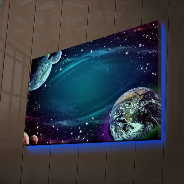 NASA-018 Multicolor Decorative Led Lighted Canvas Painting