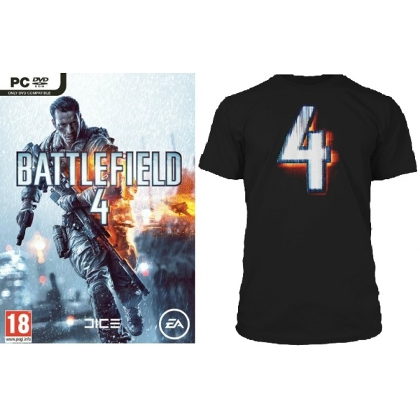Battlefield 4 Game (Includes China Rising DLC) + BF4 Black T-Shirt in Medium PC