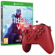Battlefield V Xbox One Game + Official Microsoft Red Wireless Controller