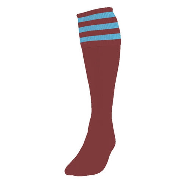 Precision 3 Stripe Football Socks Maroon/Sky UK Size 3-6