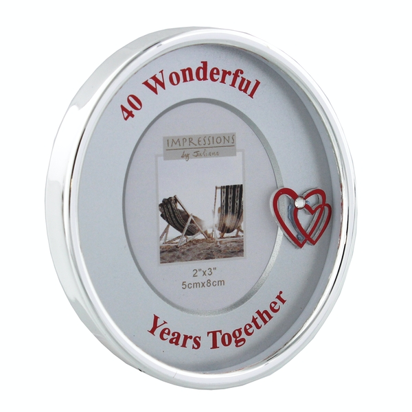"""2"""" x 3"""" - Silver Plated Oval Frame - 40th Anniversary"""