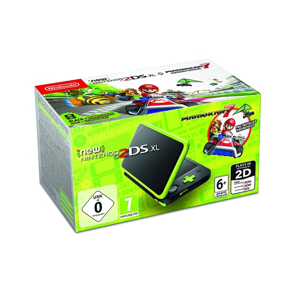 New Nintendo 2DS XL Black and Lime Green Console Pre-installed with Mario Kart 7 (UK Plug)