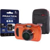 PRAKTICA Luxmedia WP240 Wtprf Orange Camera Kit inc 8GB MicroSD Card & Case