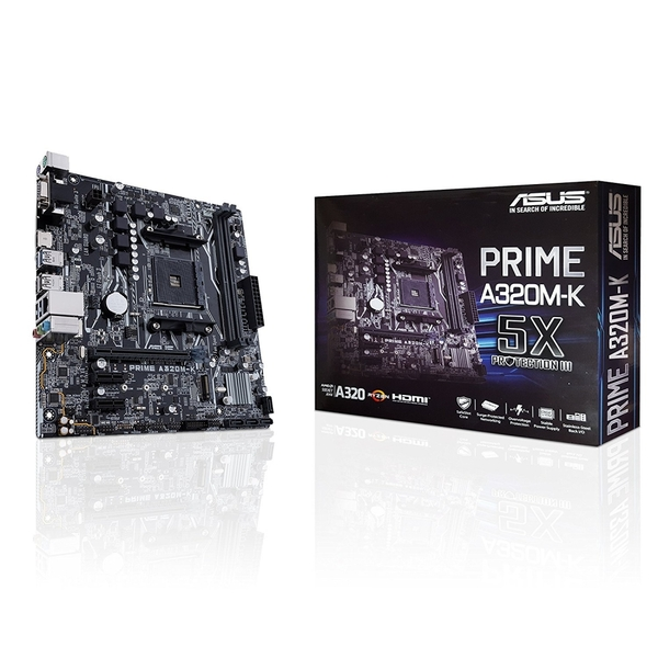 Image of Asus PRIME A320M-K Motherboard PC base AMD AM4 Form factor Micro-ATX Motherboard chipset AMD® A320