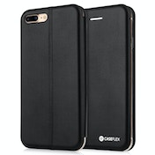 Caseflex iPhone 7 Plus PU Leather Stand Wallet with Felt Lining/ID Slots - Black (Retail Box)