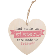 God Made Us Sisters Hanging Heart Sign