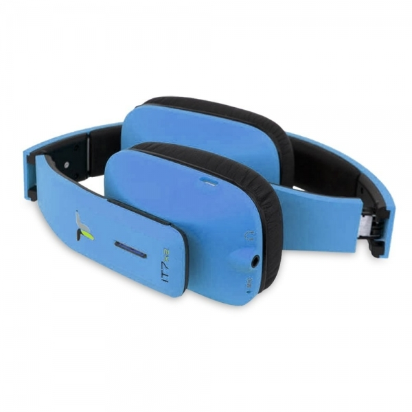 iT7x2 Foldable Wireless Bluetooth Headphones with Near Field Communication NFC Blue - Image 3