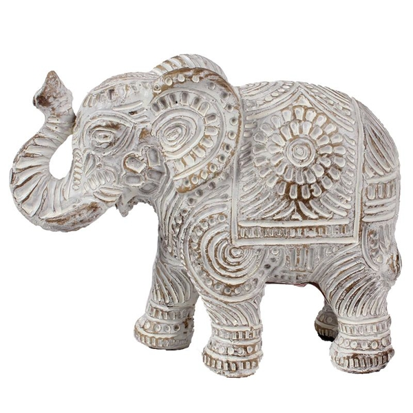 Brushed White and Gold Small Thai Elephant Figurine