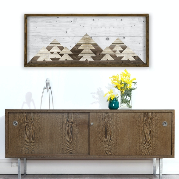 TAH019 Brown White Decorative Framed MDF Painting