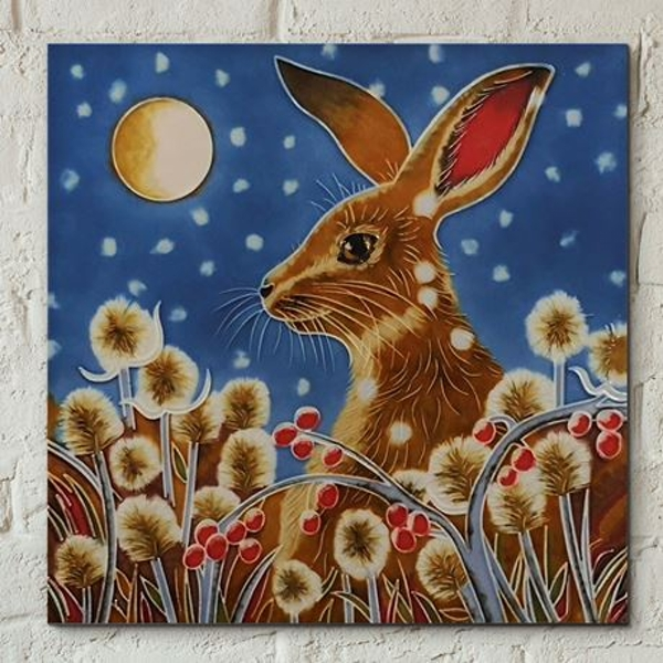 Tile 8x8 Autumn Frost Hare By J.Yates Wall Art
