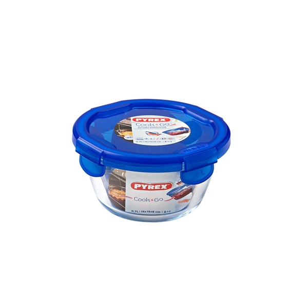 Pyrex Cook & Go Glass Round Dish with Lid 0.7L