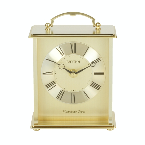 Rhythm Gold Finish Metal Carriage Clock - Westminster Chime