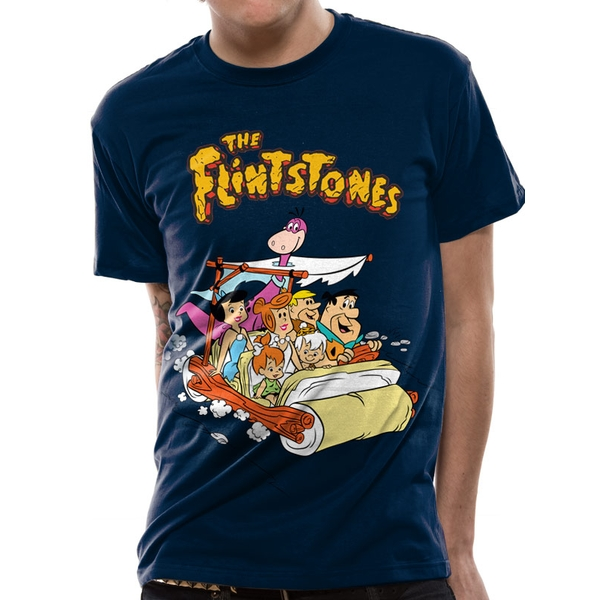The Flintstones - Car Men's Small T-Shirt- Blue