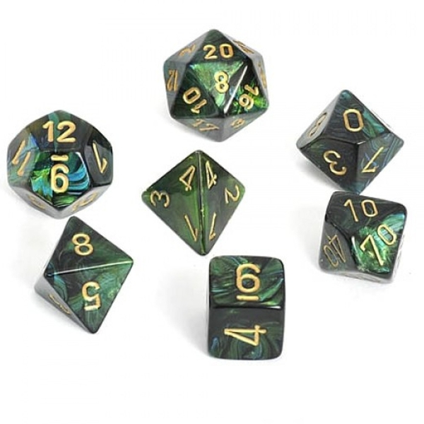 Chessex Dice Poly 7 Set: Scarab Jade/gold