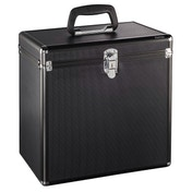 Hama 50 LP Case, Aluminium Look, black