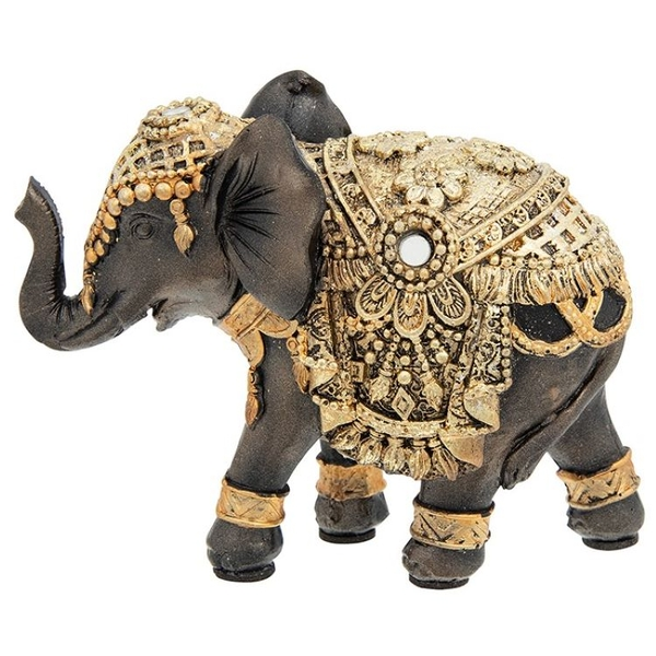 Black Gold Elephant Mini Ornament