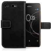Sony Xperia XZ1 Real Leather Wallet Case - Black