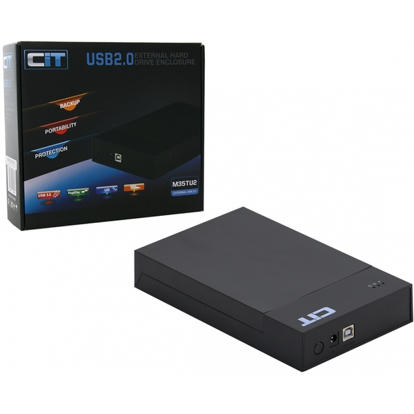 CiT 3.5-Inch USB 2.0 Sata HDD Tooless Enclosure Black