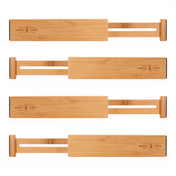 Bamboo Adjustable Drawer Dividers - Pack of 4 | M&W Large