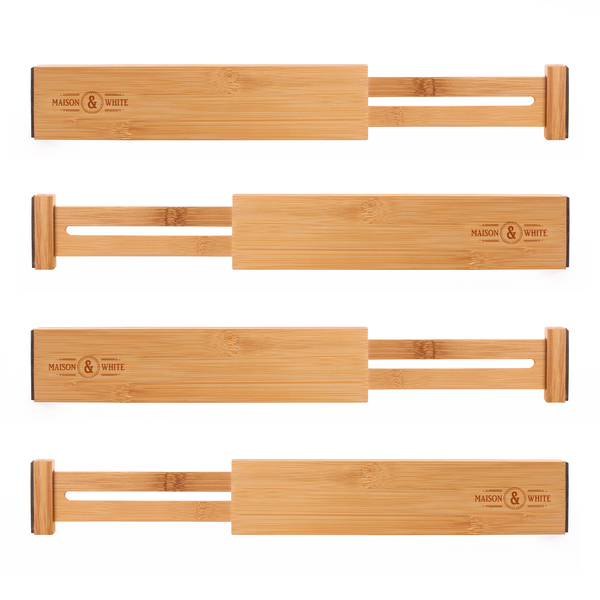 Bamboo Adjustable Drawer Dividers - Pack of 4   M&W Large