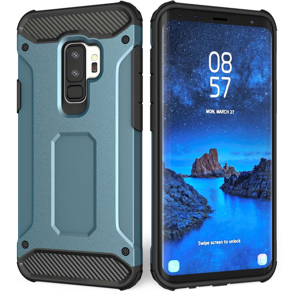 Samsung Galaxy S9 Plus Armoured Shockproof Carbon Case - Blue