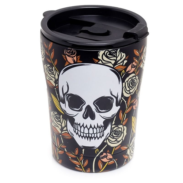 Skulls & Roses Reusable Stainless Hot & Cold Thermal Insulated Food & Drink Cup 300ml