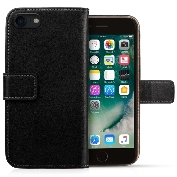 Caseflex iPhone 8 Real Leather Wallet Case - Black - Image 1