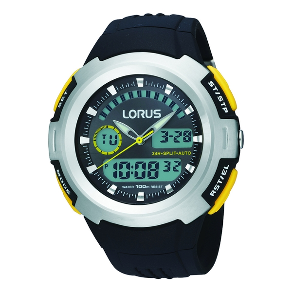 Lorus R2323DX9 Mens Dual Display Chronograph Watch with Resin Strap