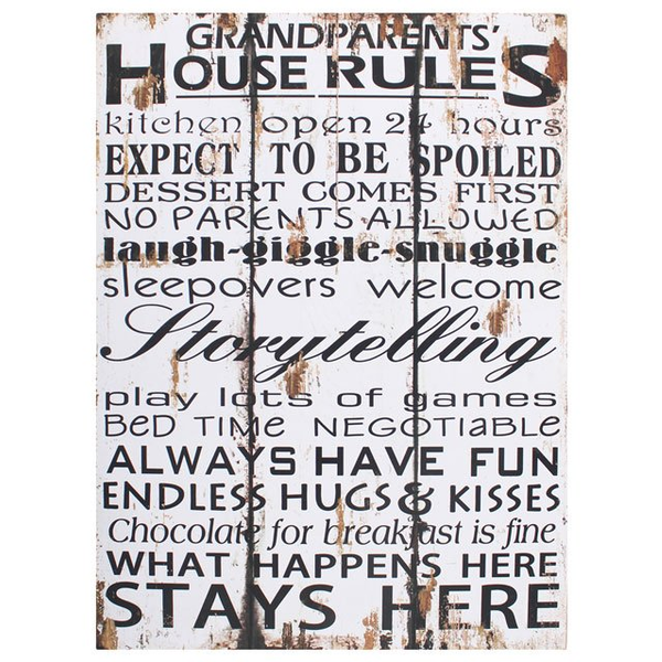Grandparents House Rules Wall Sign
