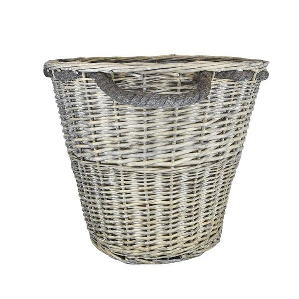 Log Basket with Rope Handles Large Grey Wash 44cm