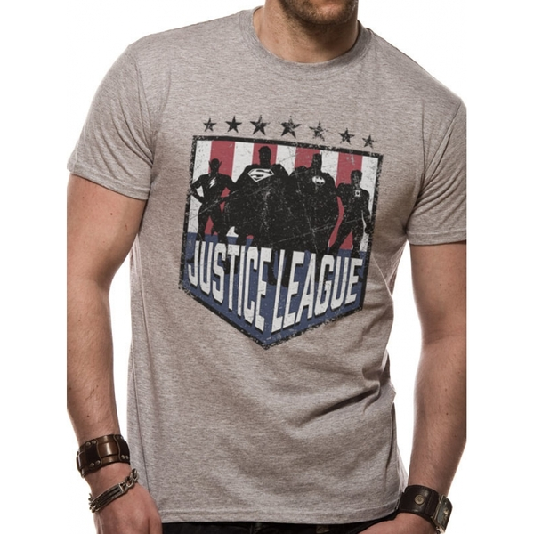 Justice League Comics - Silhouette Shield Men's Medium T-Shirt - Grey