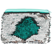 Silver and Green Reversible Sequin Purse Pack Of 12