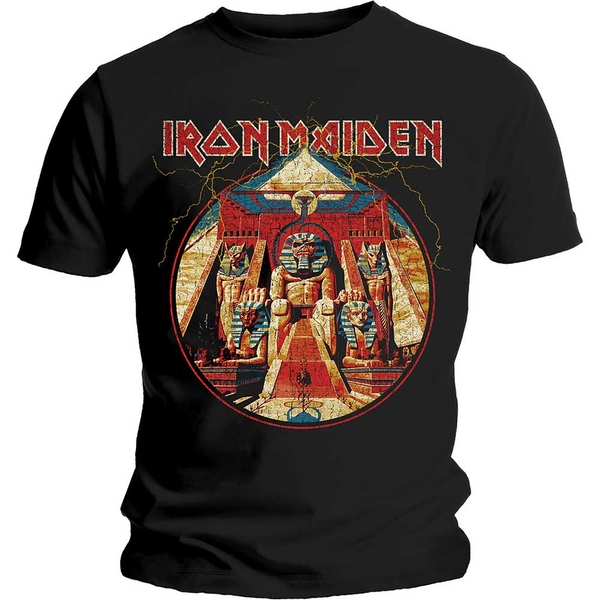 Iron Maiden - Powerslave Lightning Circle Unisex Medium T-Shirt - Black
