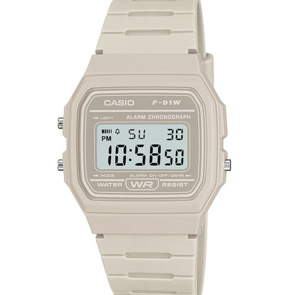 Casio F-91WC-8AEF Casual Digital Watch with Cream Resin Strap