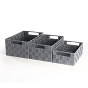 Nylon Storage Baskets 3 Pack - Large, Medium & Small | Pukkr Grey