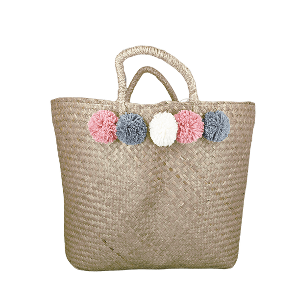 Tote Bag with Pom Poms Woven 58cm