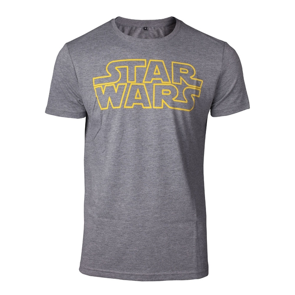 Star Wars - Outlines Logo Men's Small T-Shirt - Grey